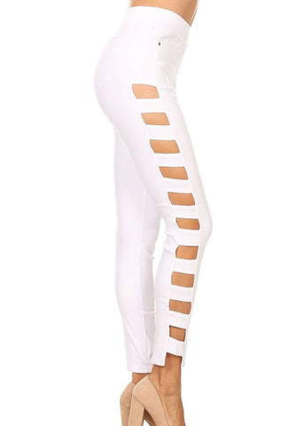 White Side Cutout Jeggings