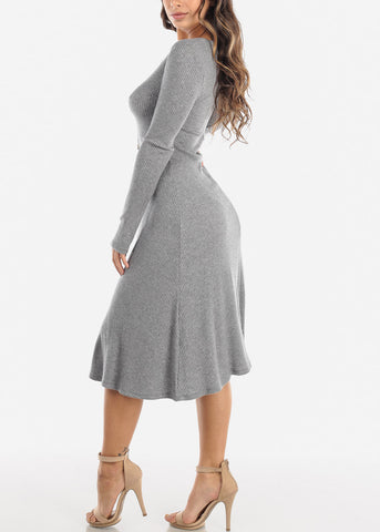 Grey Button Down Sweater Dress