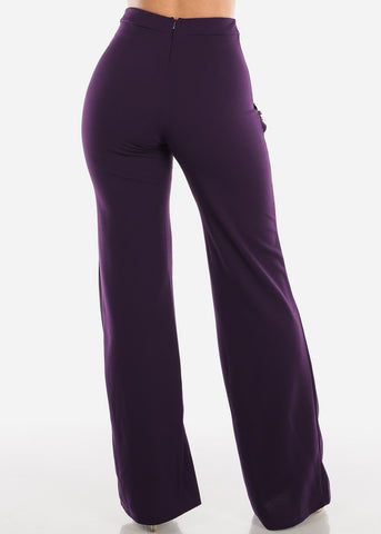 Image of High Rise Dressy Purple Pants