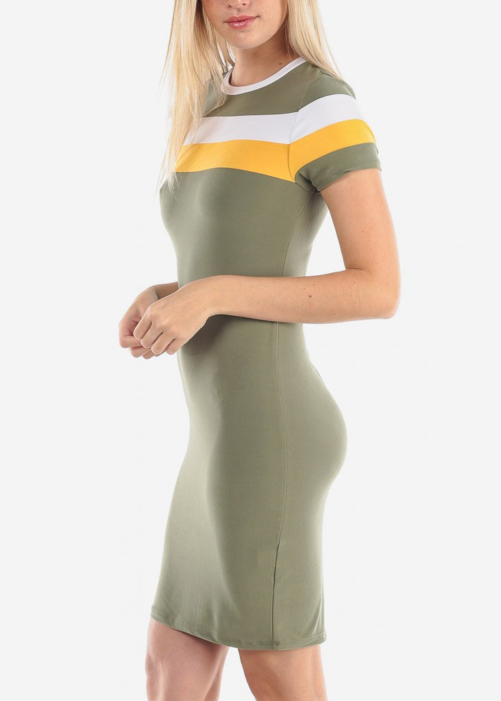 Women's Junior Ladies Cute Casual Going  Out Short Sleeve Many Multi Stripe Olive Tight Fit Bodycon Midi Stretchy Dress