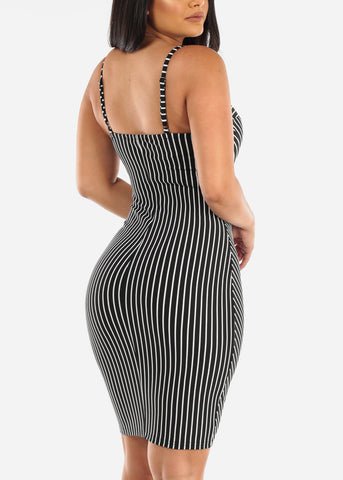 Sexy Spaghetti Strap Black & White Stripe Tight Fit Bodycon Midi Dress