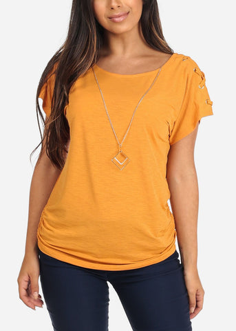 Women's Junior Ladies Stylish Going Out Casual Round Neckline lace Up Detail Sleeves Mustard Dressy Blouse Top