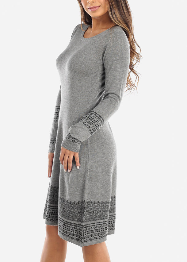 Printed Hem Grey Long Sleeve Sweater Dress