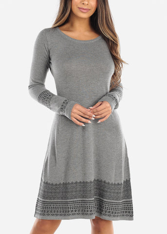 Printed Hem Grey Sweater Dress