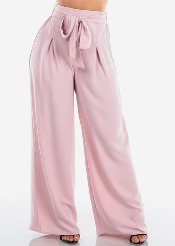Image of Women's Junior Ladies Sexy Elegant Dressy High Waist Solid Mauve Light Pink Wide Legged Pants With Attached Belt