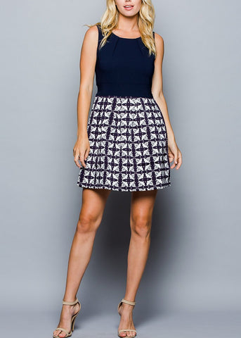Printed Navy Fit & Flare Dress