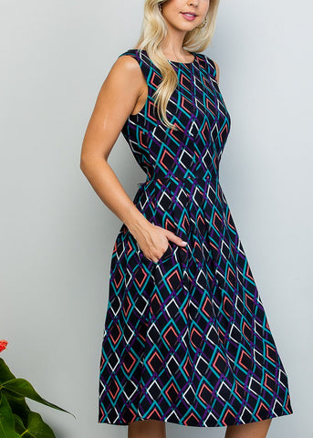 Sleeveless Printed Black A-Line Dress