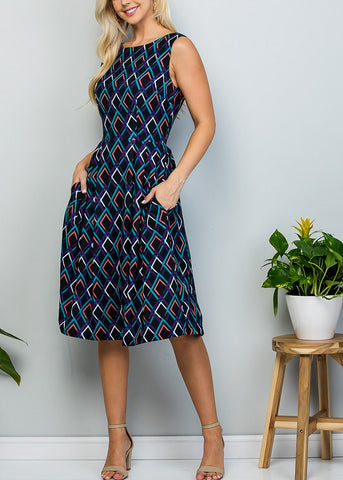 Image of Sleeveless Printed Black A-Line Dress