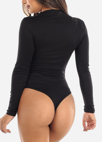 Image of Button Front Black V-Neck Bodysuit