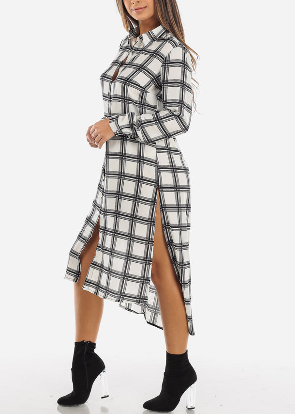 White Checkered Maxi Shirt Dress