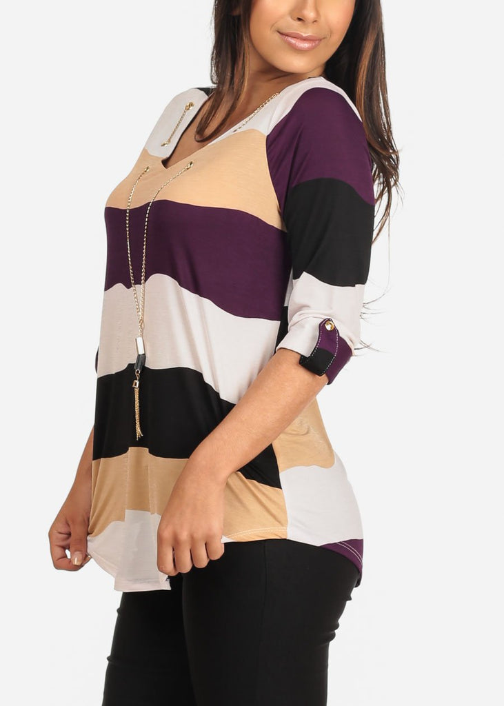 Women's Junior Ladies Dressy Stretchy Stylish 3/4 Sleeve Purple Stripe V Neckline Top With Necklace
