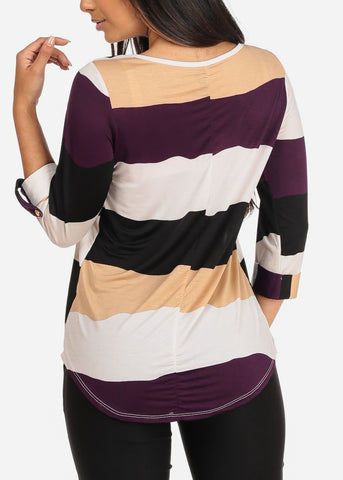 Image of Women's Junior Ladies Dressy Stretchy Stylish 3/4 Sleeve Purple Stripe V Neckline Top With Necklace