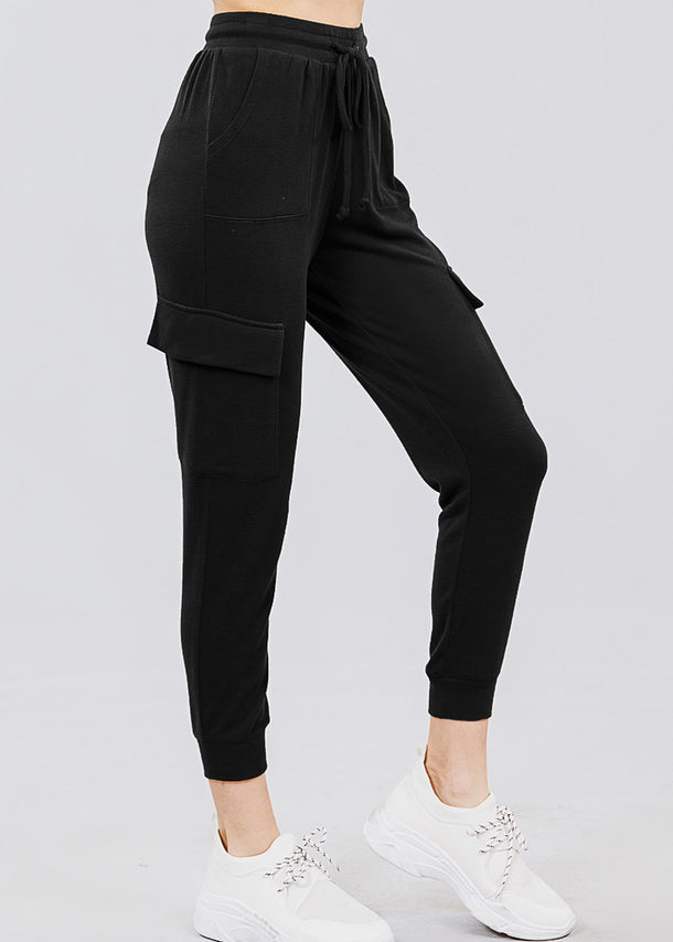 High Waisted Black Cargo Jogger Pants