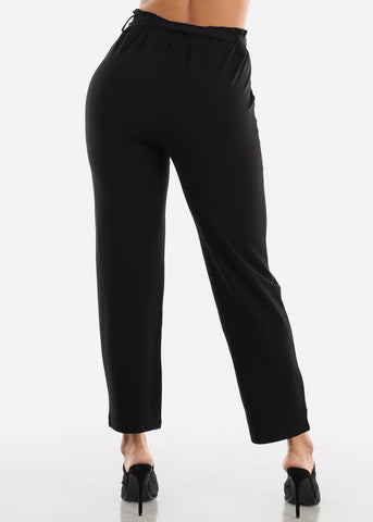Image of Black Belted Straight Leg Dress Pants