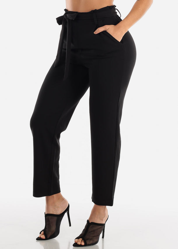 Black Belted Straight Leg Dress Pants