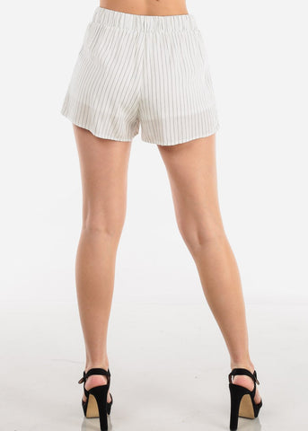 Image of High Rise White Pinstripe Shorts