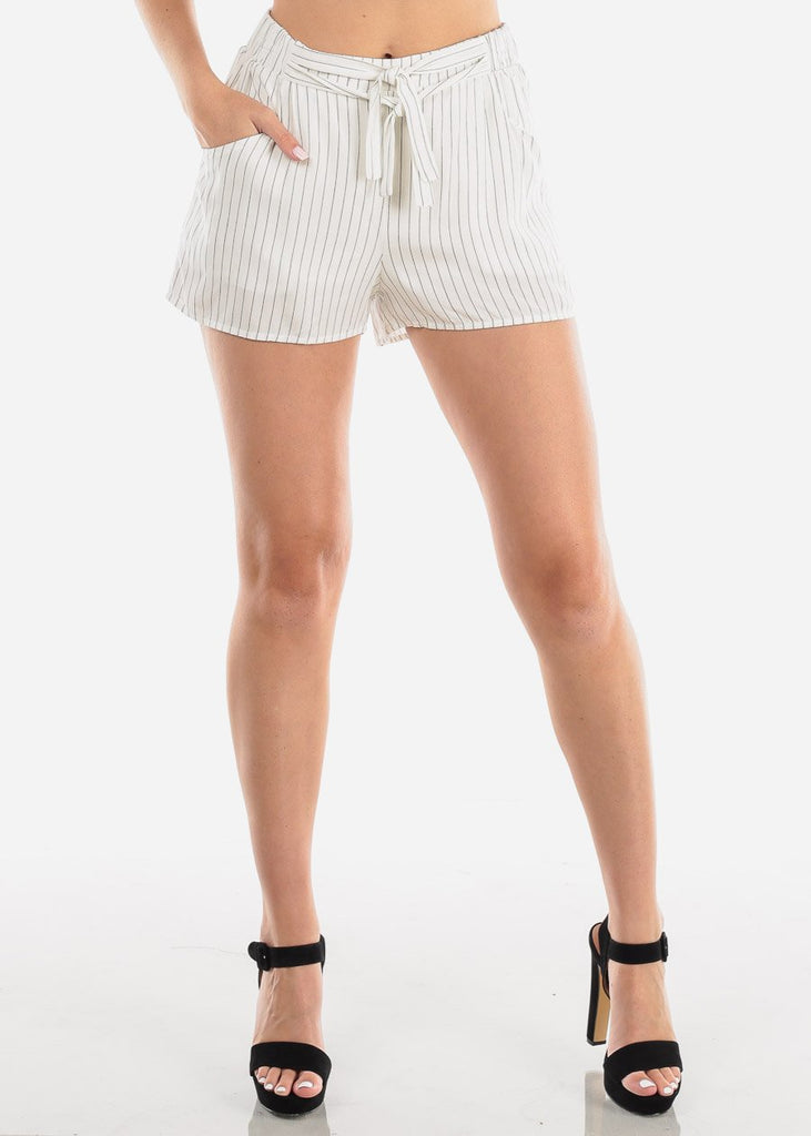 Women's Junior Ladies Going Out High Waisted White Stripe Shorty Shorts With Tie Front Attached Belt