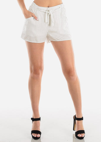 Image of Women's Junior Ladies Going Out High Waisted White Stripe Shorty Shorts With Tie Front Attached Belt