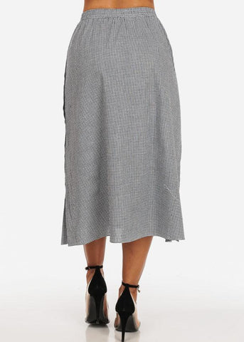 Casual White Plaid Print Button Up Sides Trendy Retro Fit And Flare Long Maxi Skirt
