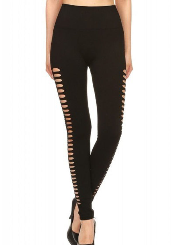 Black Double Side Cutout Seamless Stretchy Leggings