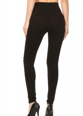 Black Front Cutout Seamless Stretchy Leggings
