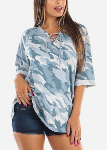 Image of Camouflage Army Print Short Sleeve Lace Up Neck Stretchy Loose Fit Flowy Blue Tunic Top For Women Ladies Junior At Affordable Price On Sale
