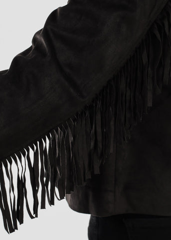 Black Faux Suede Fringe Jacket