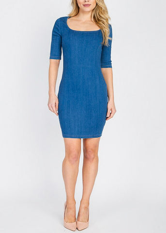 Med Wash Bodycon Denim Dress