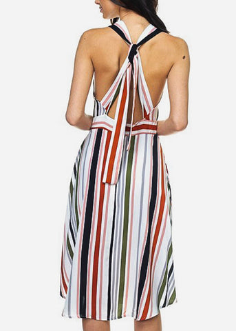Image of Multicolor Striped Woven Midi Dress