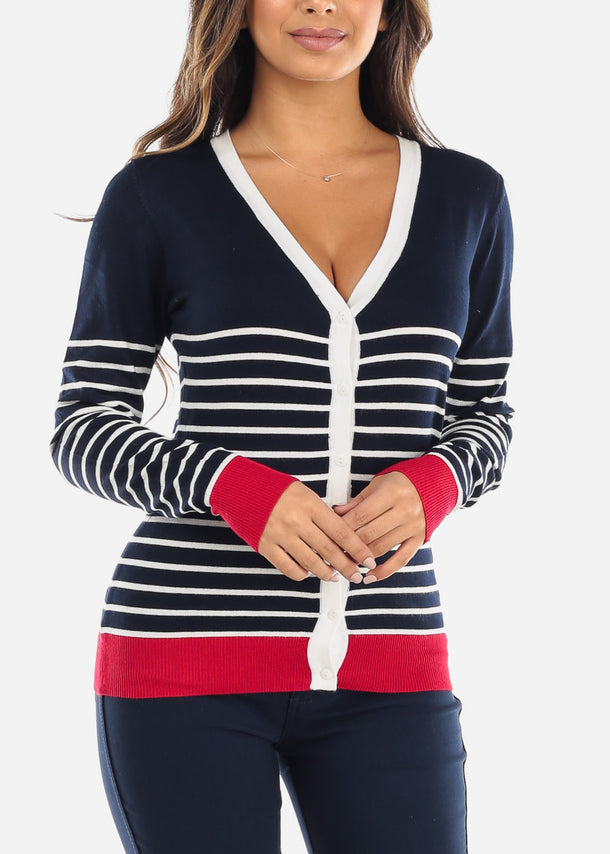 Red Trim Navy Striped Button Down Cardigan SW775CNVY
