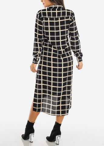 Black Checkered Maxi Shirt Dress