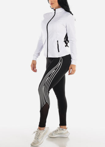 Image of Activewear Zip Up White Jacket