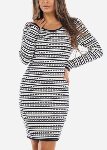 Image of White & Navy Striped Sweater Dress