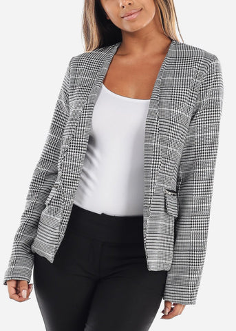 Image of Open Plaid Blazer with Zipper Pockets