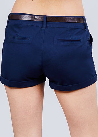 Belted Navy Twill Shorts