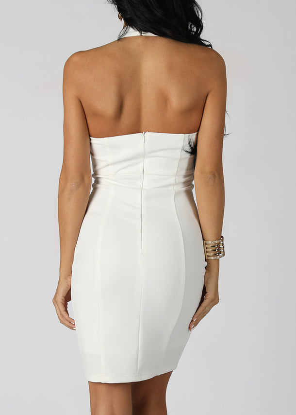 Solid White Halter Dress