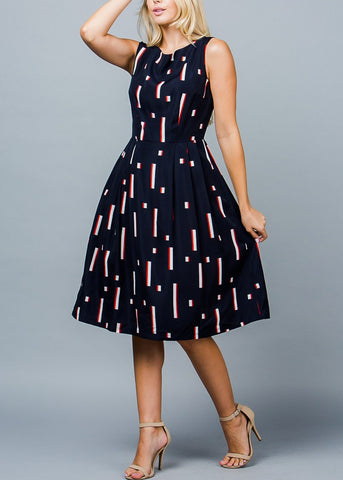 Image of Sleeveless Printed Navy Fit & Flare Dress