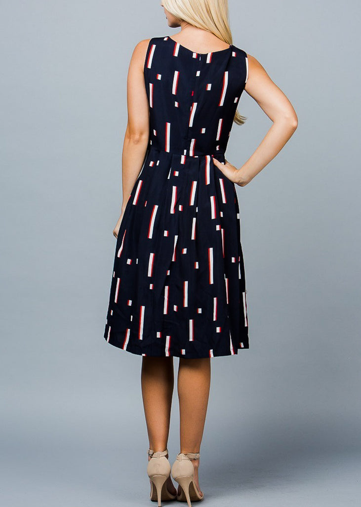 Sleeveless Printed Navy Fit & Flare Dress