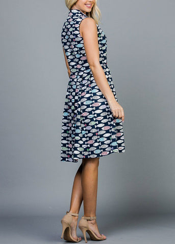Image of Half Button Up Fish Print Navy Dress