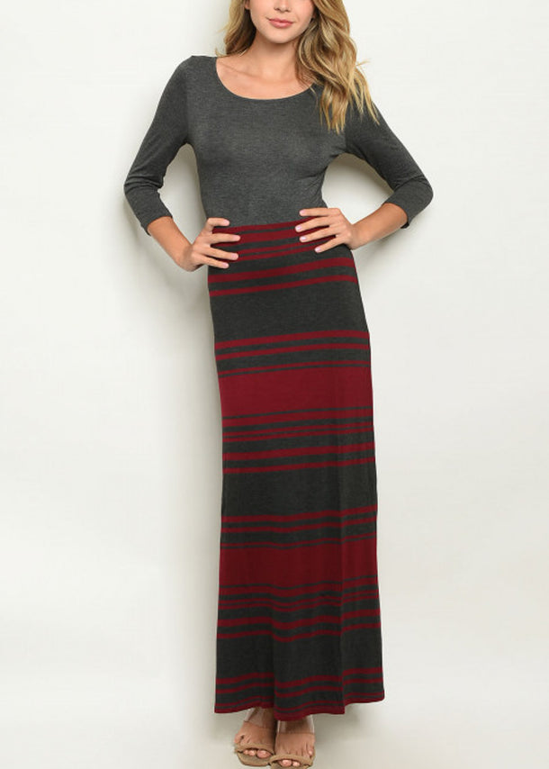3/4 Sleeve  Stripe Charcoal Maxi Dress