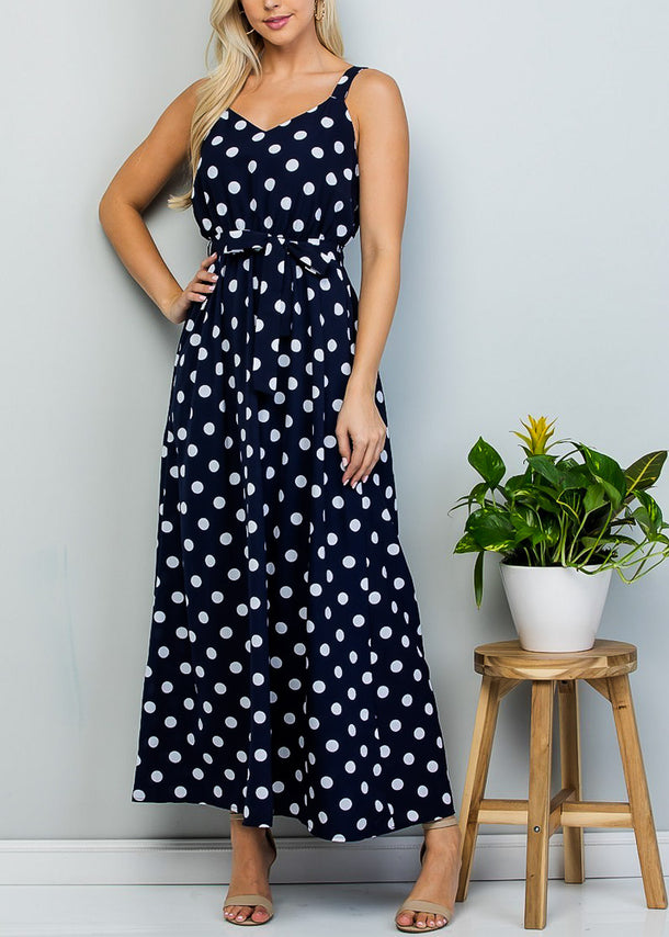 Sleeveless Navy Polka Dot Maxi Dress