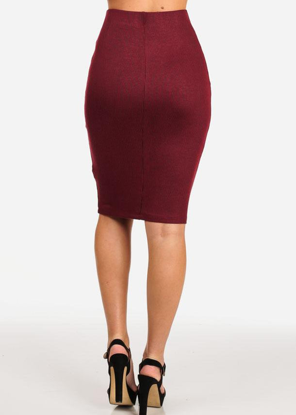 Knit Wine Midi Skirt
