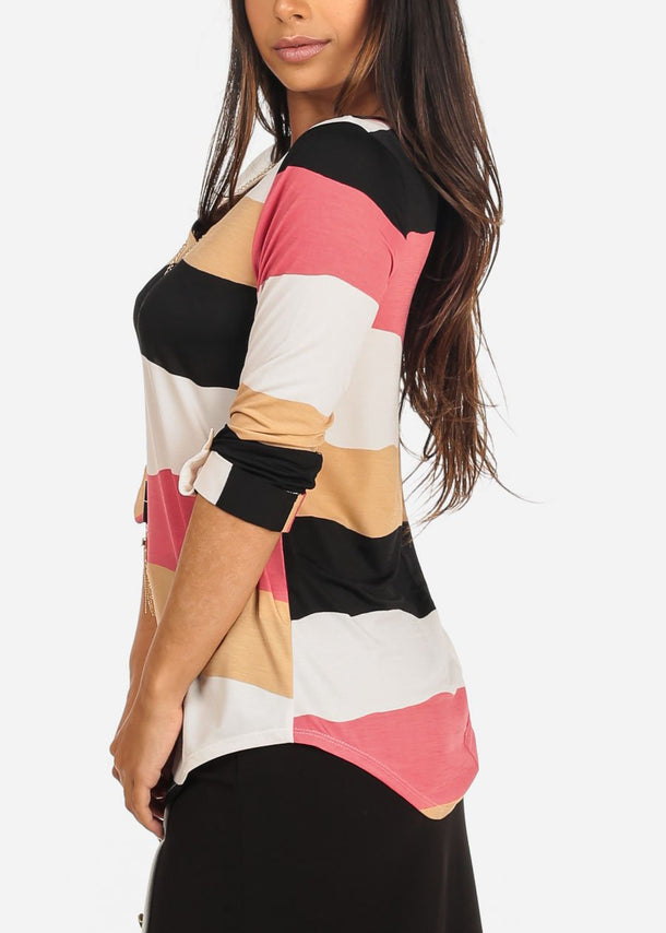 Pink Multicolor Striped V Neck Blouse