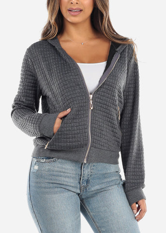 Charcoal Zip Up Grid Stitch Jacket J2080CHRC