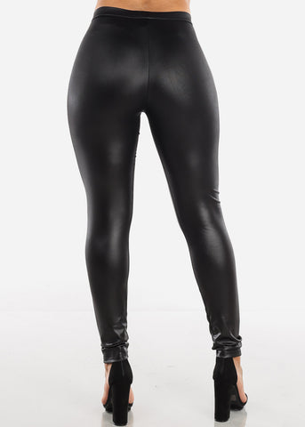Black Pleather Leggings Front Zipper Detail Stretchy