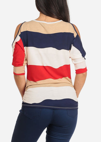 Image of Women's Junior Ladies Casual Going Out Stylish Cute Trendy Multi Color Stripe Red Cold Shoulder Stretchy Top With Necklace Included