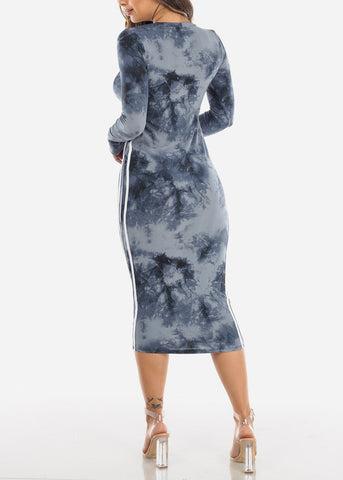 Image of Strappy Tie Dye Navy Midi Dress