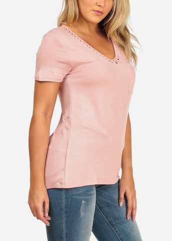 Image of Women's Junior Ladies Casual Short Sleeve Stretchy Flowy V Neckline Cut Out Design Mauve Basic T Shirt Tunic Top