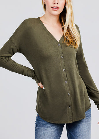 Image of Olive V-Neck Button Down Cardigan