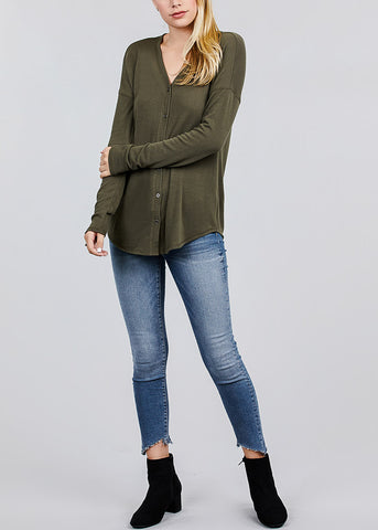 Olive V-Neck Button Down Cardigan